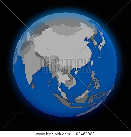 southeast Asia on political globe on black background poster