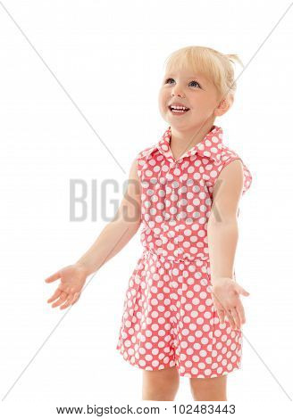 little girl rejoices