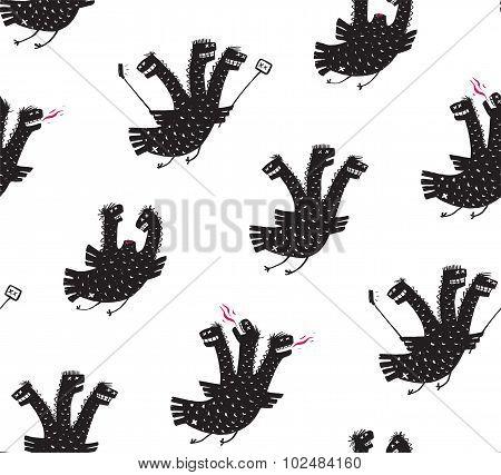 Funny Comic Humorous Seamless Pattern Dragon Hand Drawn Print Design