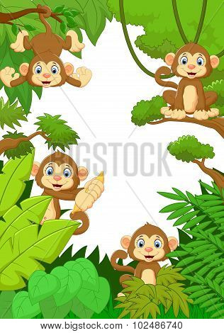 Cartoon happy monkey in the forest