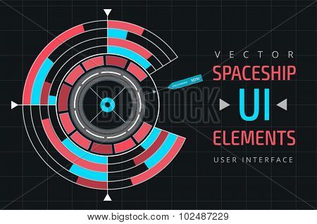 UI infographic interface web elements. Futuristic space thin user interface. Web interface elements, UI elements, UI design, UI vector icons. Game target navigation interface technology design UI flat