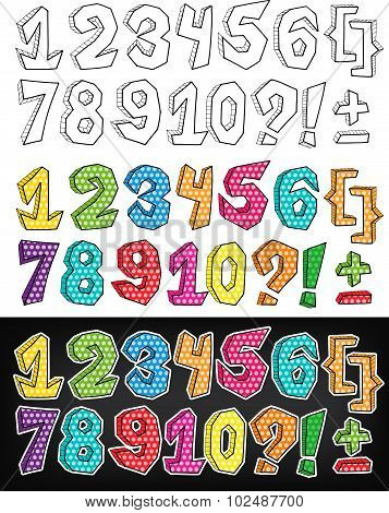 Vector Numbers Design In Pop Art Comic Style. Hand Drawn Graphic Numbers 1 2 3, Etc.