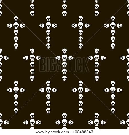 Crosses Made Of Skulls Seamless Halloween Pattern
