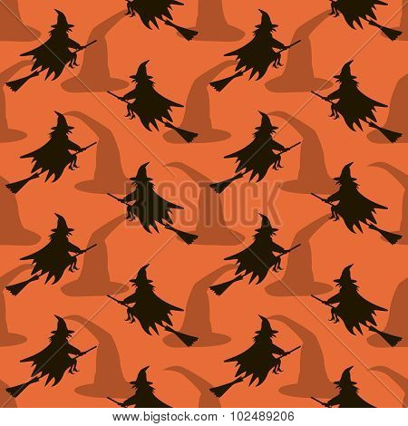 Seamless Halloween Pattern Of Witches Flying On Broomsticks