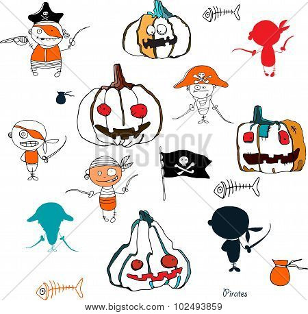 vector little funny pirates and halloween pampkins on white background with silhouettes for holidays