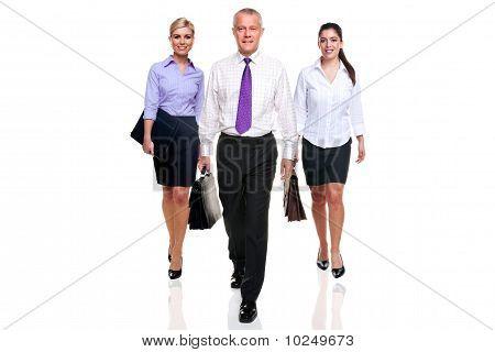 Business Team Three People Walking