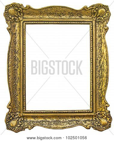 poster of Old wooden gilded Frame Isolated with Clipping Path