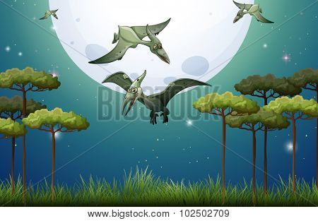 Dinosaurs flying on fullmoon night illustration