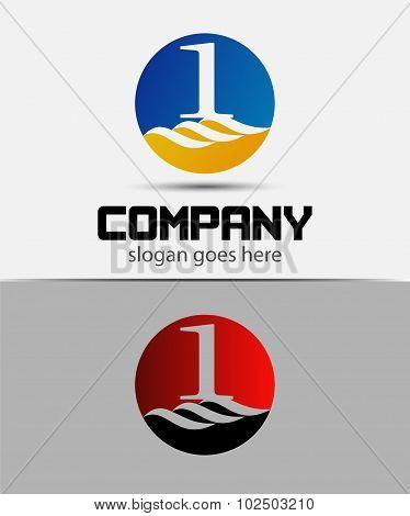 Number logo design. Number one logo