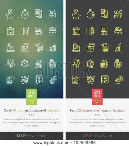 Set Icons on the Theme of Success Business