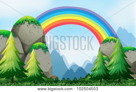 Colorful rainbow in the nautre illustration