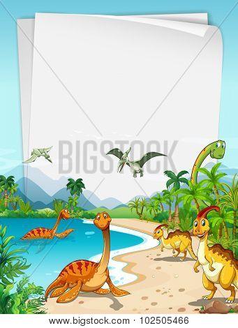 Dinosaurs at the ocean illustration