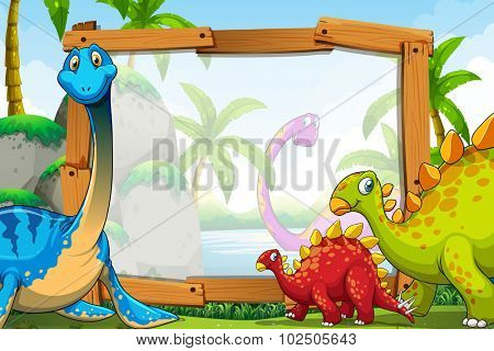 Dinosaurs around the wooden frame illustration