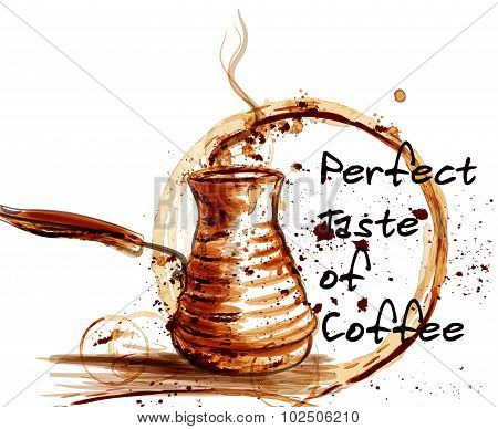 Coffee Vector Poster Illustration For Cafe Labels