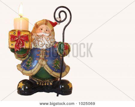 Candle And Santa Klaus