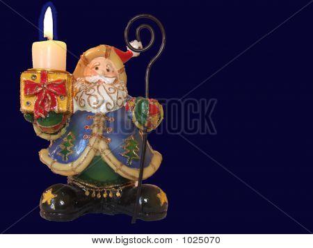 Candle And Santa Klaus Blue