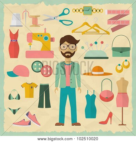 Fashion designer male character design with fashion objects. Fashion designer icons. Flat design vec