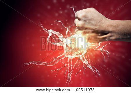 Close up of man hand striking nerve symbol poster