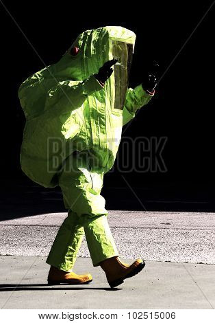 Yellow Protective Suit To Manage Hazardous Materials