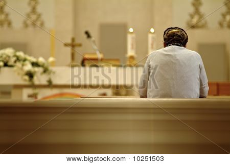 old woman in church
