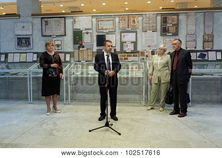 ST. PETERSBURG, RUSSIA - SEPTEMBER 18, 2015: General director of National Library Anton Likhomanov delivers opening remarks on exhibition