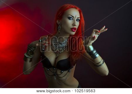 Bellydancer - Beautiful Woman In Sexy Clothing With Eastern Makeup And Oriental Jewelry , Tribal Fus