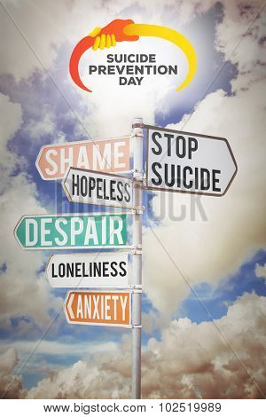 suicide prevention day against multi colored sign posts against cloudy sky