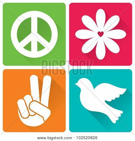 Set Of 4 Illustrations In Flat Design, Peace And Antiwar Theme