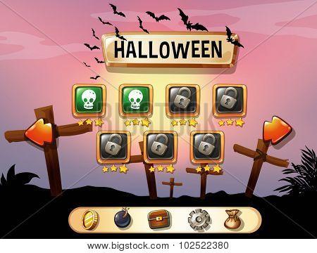Screensaver of halloween theme game illustration