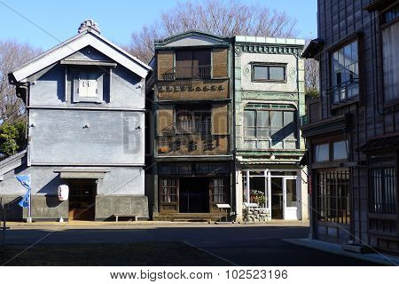 Japanese Billboard Architecture and Traditional Japanese Storehouse