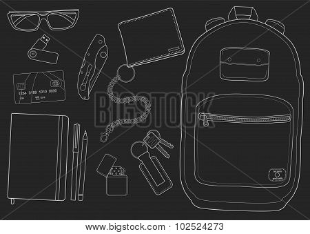 EDC set. Every day carry man items collection. Vector isolated items. Chalk poster