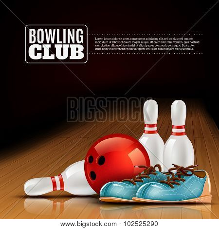 Bowling league indoor club poster