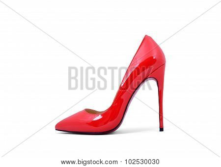 Luxury Red Female Shoe Isolated Over White
