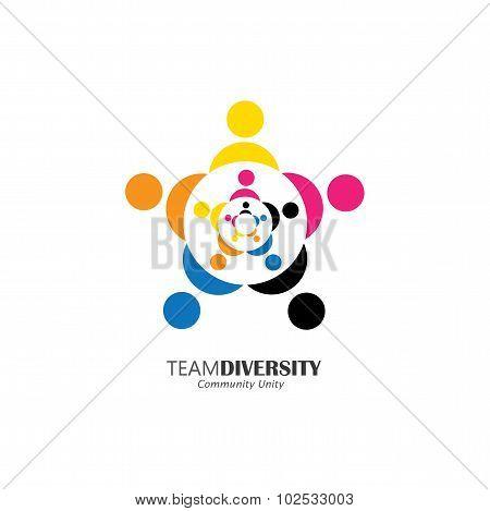 Abstract People Team & Teamwork - Vector Logo Icon