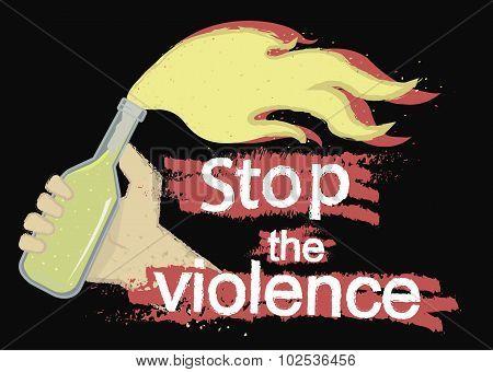Stop the violence grunge illustration