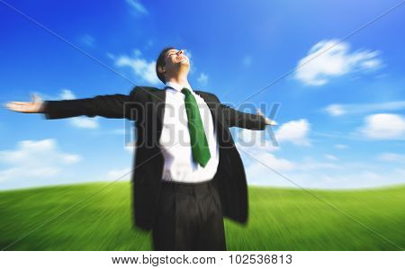 Businessman Freedom Relaxation Getaway Refreshment Concept poster