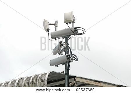 Antennas of mobile cellular systems with wifi hot spot repeater and blue sky poster