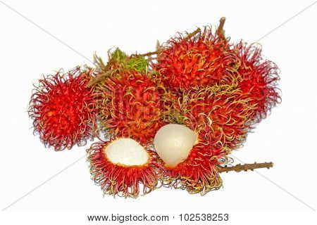 Group Of Fresh Rambutan Fruit On White Background. (selective Focus)