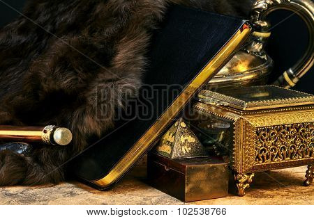 Ancient Book Of Magic With Treasures