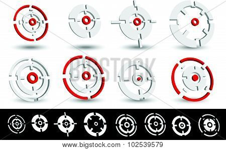 Set Of 10 Target Marks, Cross-hairs, Reticle Shapes.