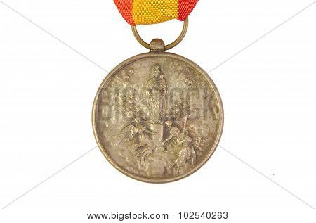 Honor medal showing Spanish flag and Our Lady of Pilar or Pillar image isolated on white background