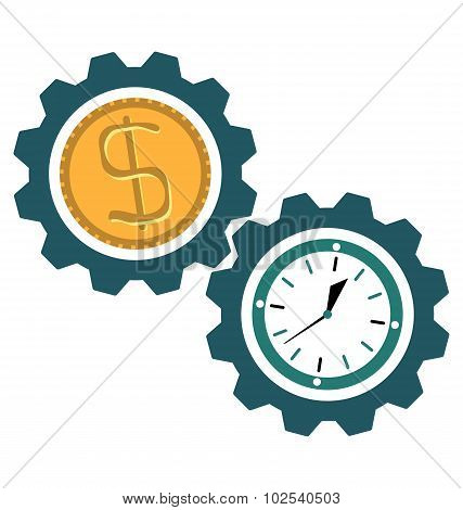 Gear Clock Time, Dollar Coin, time Is Money