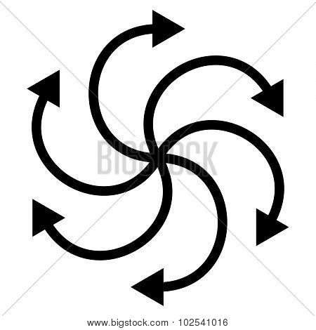 Cyclic rotating curved arrows on white. editable. poster