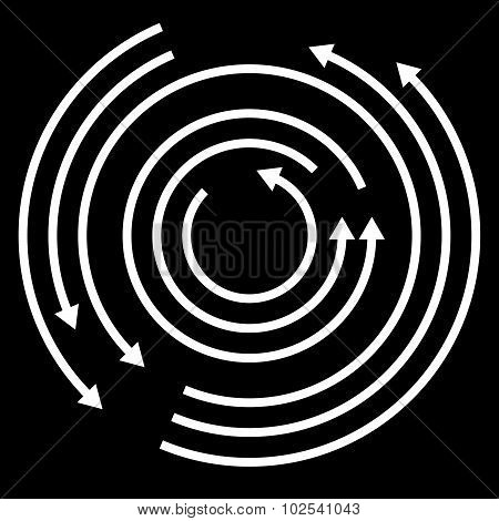 Concentric circulating rotating arrows circle arrows. Vector. poster