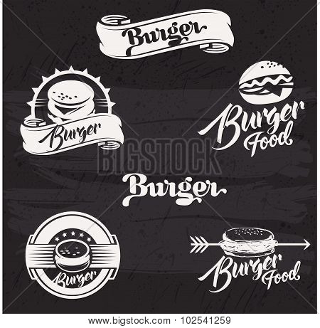 Burgers logo set in vintage style. Retro hand drawn burger logotypes collection.