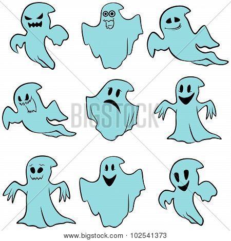 Set Of Nine Blue Flying Ghosts