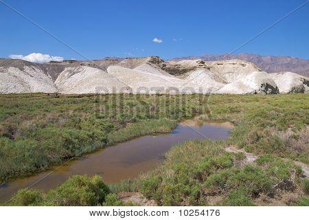 Salt Creek winding though white hills, Death Valley