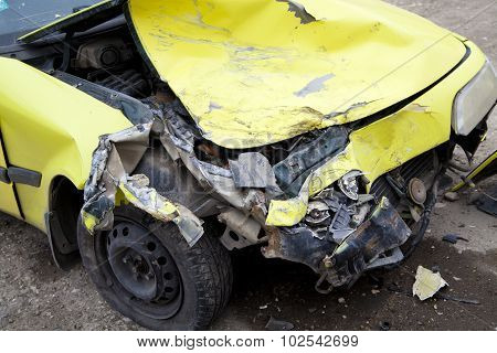 Traffic Accident. Yellow Crashed Car