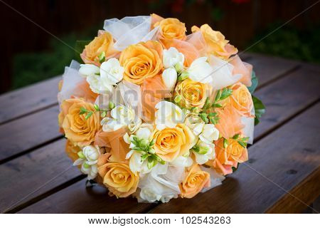 Bridal Bouquet With Orange And White Flowers