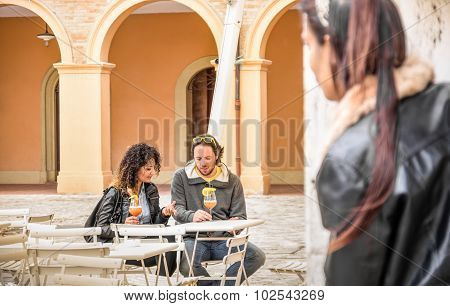 Jealous Woman Stalking Couple Of Lovers